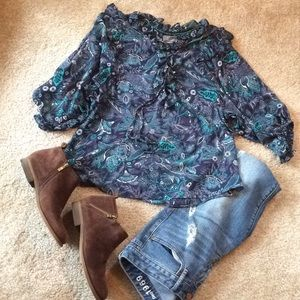 Anthropologie blue BOHO paisley top sz large